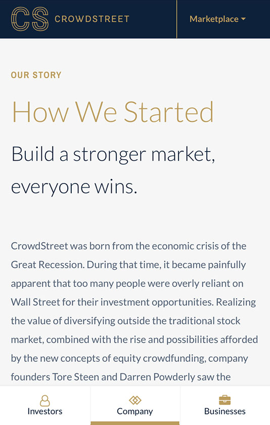 Crowdstreet Mobile Designs