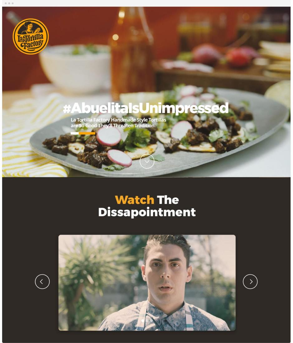 La Tortilla Ad Campaign Full Page Web Design Example