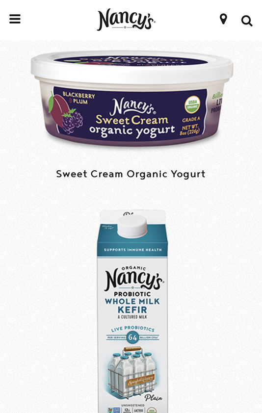 Nancy's Yogurt mobile designs