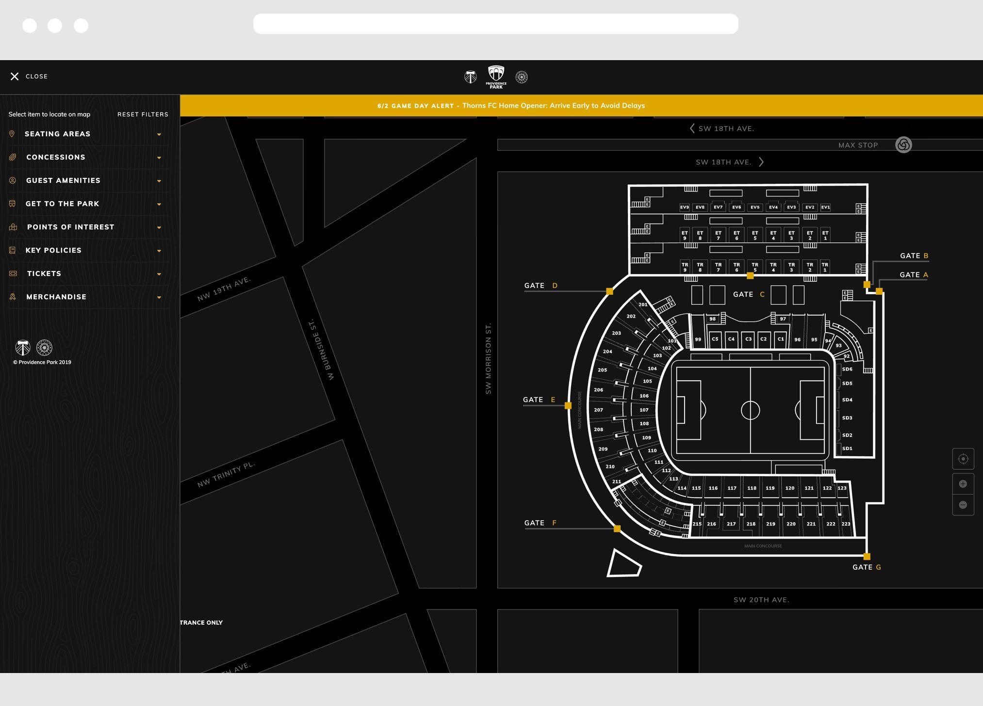Providence Park Desktop Website