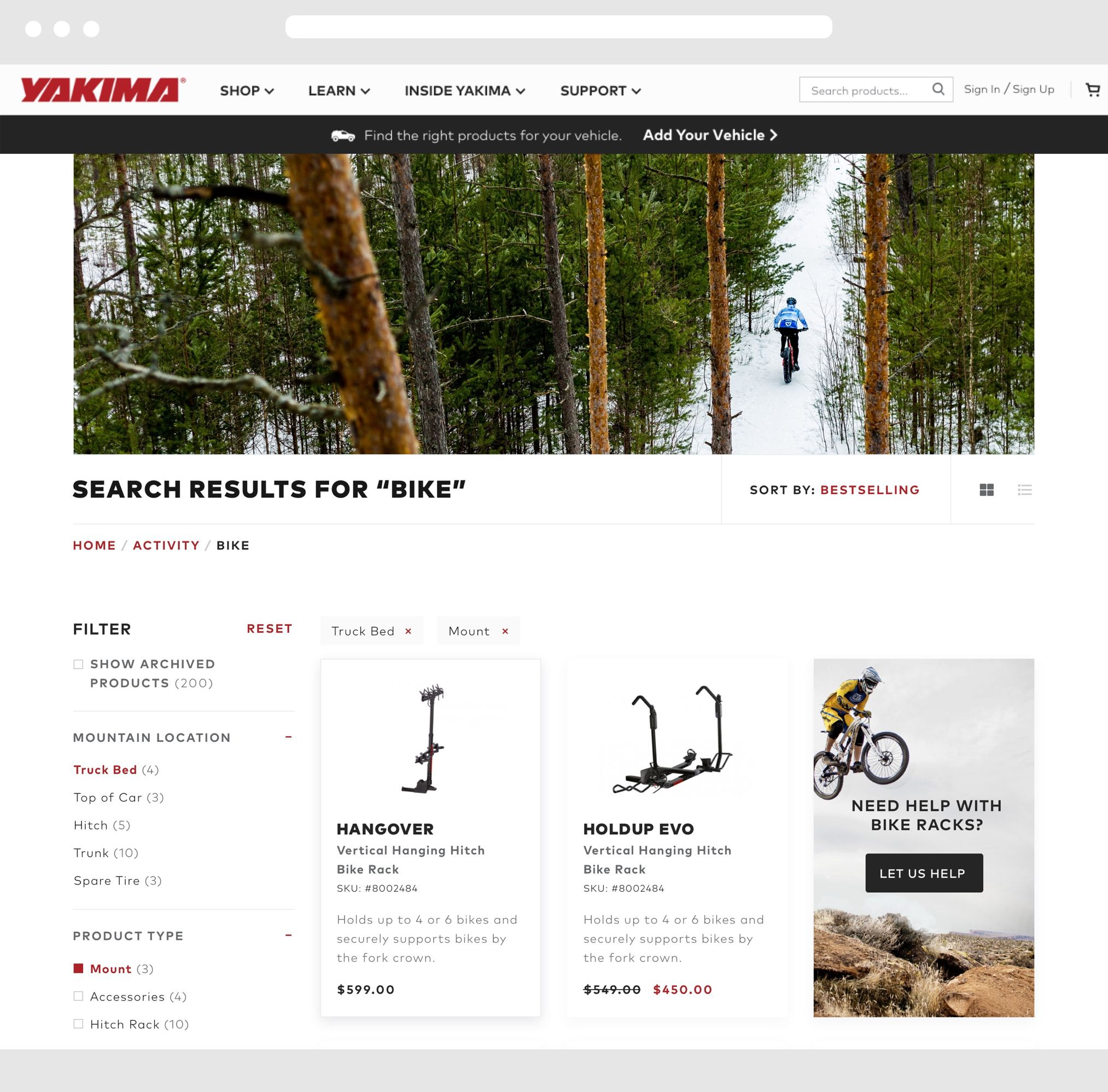 Yakima Desktop Website